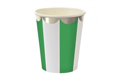 Gobelet rayé vert et blanc