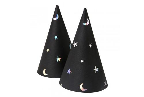 Chapeaux pointus noir et argent en carton