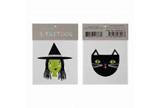 Tatouages enfant pour les fêtes d'Halloween thème sorcière et chat - Meri Meri