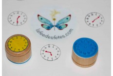 Tampon éducatif horloge en bois