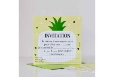 8 cartes d'invitation Ananas