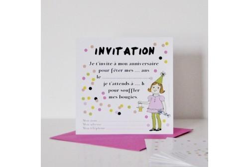 Invitaiton rétro filles Chacha