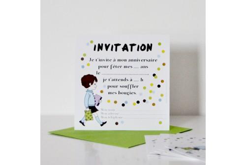Invitation rétro garçon - Chacha