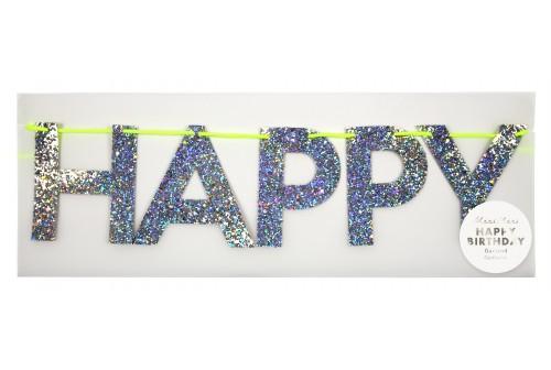 Guirlande Happy Birthday paillettes argentées