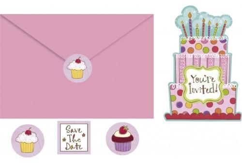 10 invitations joli gâteau