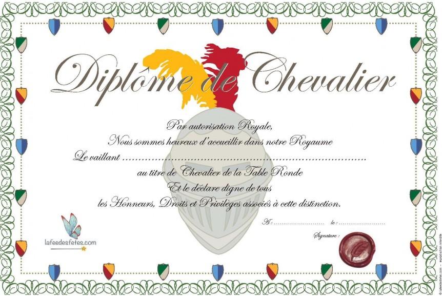 Dipl mes de f te de chevalier - Diplome de cuisine a imprimer ...