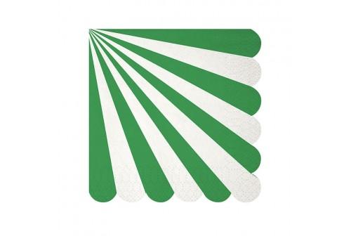 Serviettes vertes et blanches Meri Meri