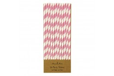 24 pailles rayées de couleur rose et blanc