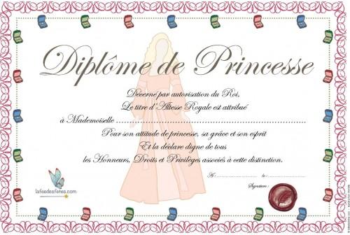 Dipl me de princesse imprimer - Diplome de cuisine a imprimer ...