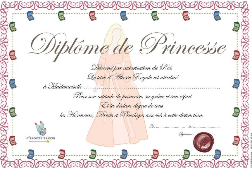 Diplome De Princesse A Imprimer