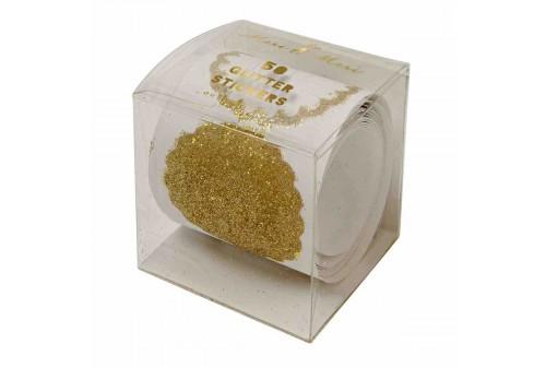 Rouleau de 50 étiquettes gliter or