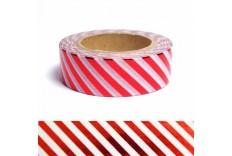Masking tape métallisé rayé rouge et blanc
