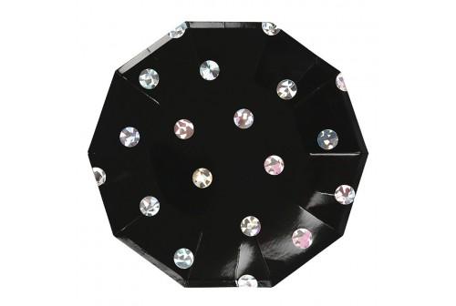 Assiettes noire et diamants Mix and Match