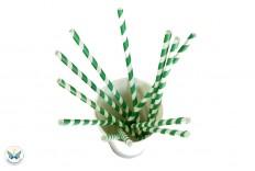 20 pailles rayées vertes et blanches