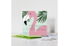 8 cartes d'invitation Flamant rose