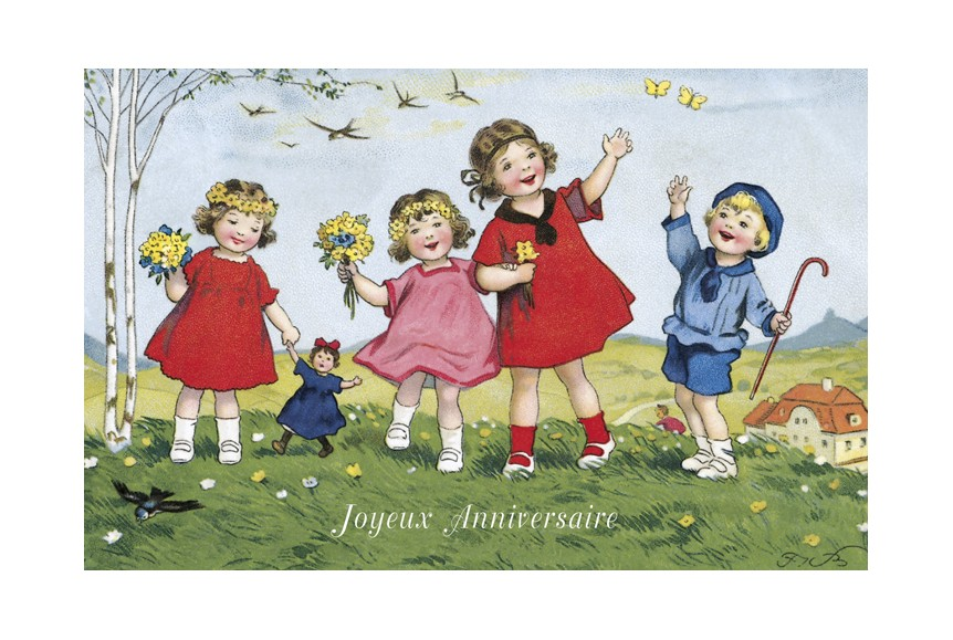Carte Anniversaire Enfant Retro Joyeux Anniversaire De Ludom Edition