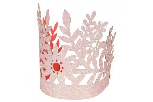 8 couronnes de princesse pailletées roses