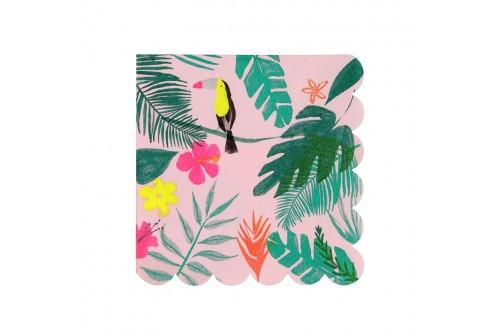 Serviettes rose Tropical