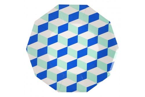 Assiettes cubiques bleu & menthe