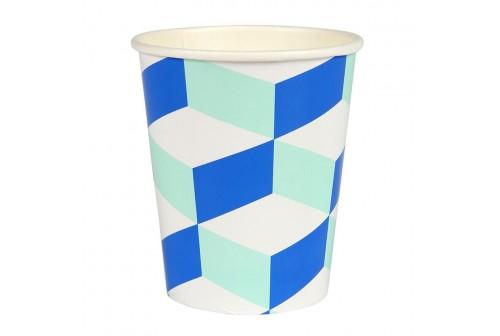 Gobelets cubiques bleu & menthe