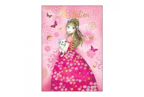 Set De 8 Invitations Theme Princesse Et 8 Enveloppes Fete De Filles