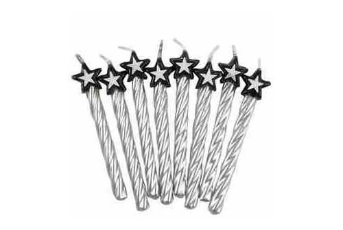 8 bougies étoiles argentées