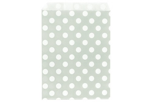 24 pochettes en papier gris à pois blanc