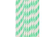 24 pailles rayées vert d'eau et blanc