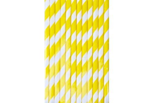 25 pailles de couleur jaune et blanc