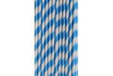 25 pailles de couleur bleues et blanches
