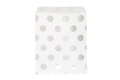 8 pochettes d'invité blanches à pois argent