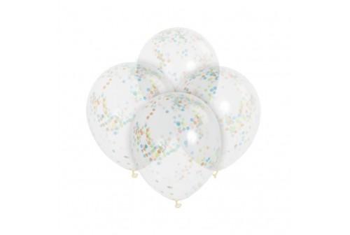 6 Ballons confetti multicolores