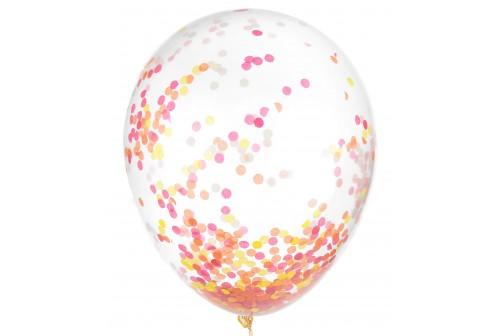 6 Ballons confetti neons