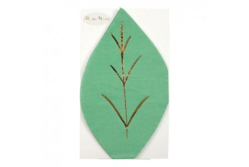 Serviettes feuille vertes