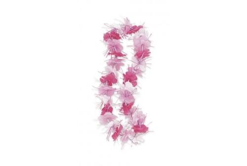 Collier à fleurs rose et blanc