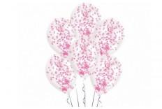 6 Ballons confetti rose
