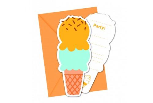 6 invitations cornet de glace
