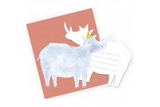 6 invitations rhinoceros