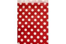 Pochettes en papier gris à pois rouge x 12