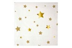 Serviettes blanches étoile or