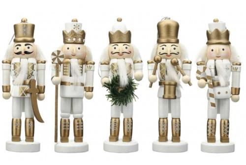 5 Figurines casse noisette Blanc/Or