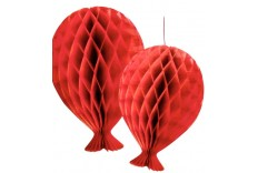 2 Ballons rouges nid d'abeille