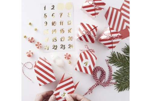 Calendrier Avent Noël rouge & Or DIY - Kit