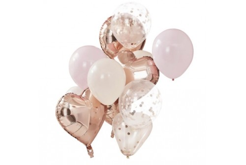 Set Ballons rose gold & rose