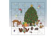 Carte Puzzle Animaux de la Fôret à Noël