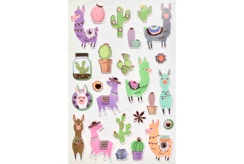 Autocollants Cactus et Lamas