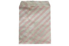 Pochettes en papier à rayures rose x 12