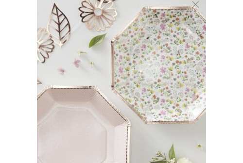 8 Assiettes composition florale