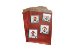 Pochette kraft rouge & sticker clown x 10
