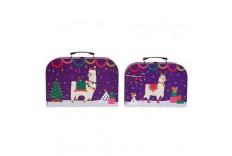 2 valises Lamas de noël